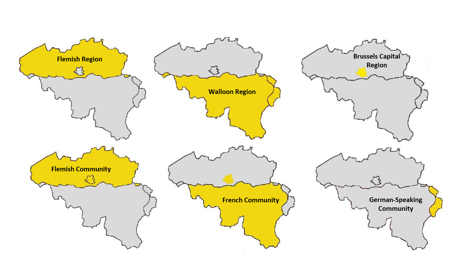 The three territorial Regions and language-based Communities.