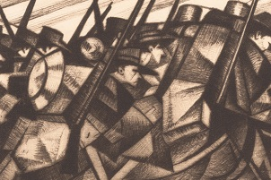 Christopher Richard Wynne Nevinson (British, 1889–1946). Returning to the Trenches (detail), 1916.